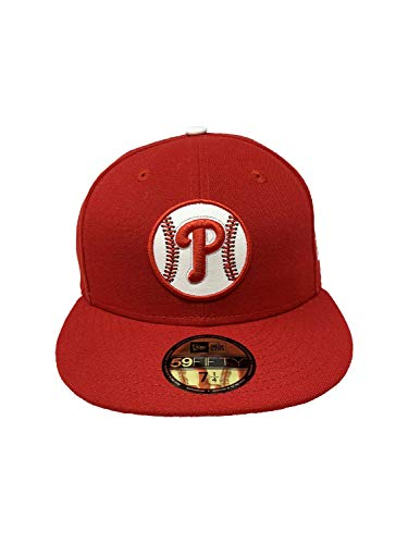 New Era Philadelphia Phillies White Leather Baseball Embossed Logo 59Fifty Fitted Hat Straight Brim Cap Red (7 1/4, Red)