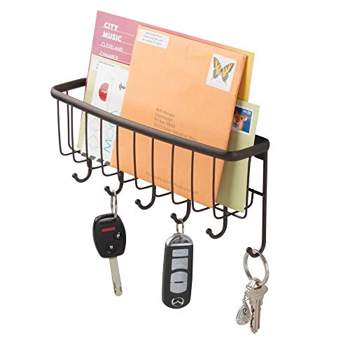 mDesign Wall Mount Metal Entryway Storage Organizer Mail Sorter Basket with 6 Hooks - Letter, Magazine, Coat, Leash and Key Holder for Entryway, Mudroom, Hallway, Kitchen, Office - - Bronze Mortar