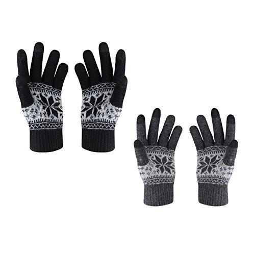 HOTER Winter Lover Snow Print Keep Warm Touch Screen Gloves - Men Black With Women Darkgrey