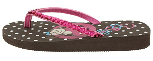 Capelli New York Girls Metallic Flip Flops with Monkey and Peace Sign Print Brown Combo 12/13 ()