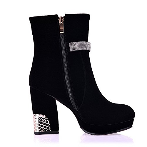 and Zipper Womens Short Boots Imitated Heels B US Heels Plush PU AmoonyFashion M High 6 5 Solid with Chunky Suede Black B6OYYpn