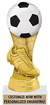 6 Gold Soccer Trophy with Customized Text Great Kids Soccer Trophies Prime Crown Awards Soccer Ball Trophies