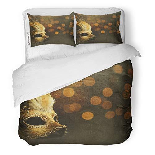 Semtomn Decor Duvet Cover Set Full/Queen Size Masquerade Golden Venetian Mask Over Shiny Bokeh Ball Creative 3 Piece Brushed Microfiber Fabric Print Bedding Set Cover
