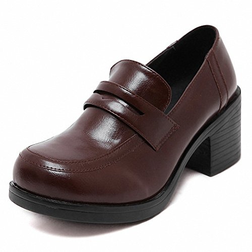mewow Womens Girls Lolita Mid Heel Students Uniform Dress Shoes For Costume and Daily Brown