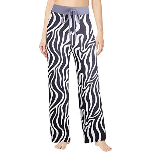 MIS1950s Women's High Waist Loose Baggy Yoga Long Pants Zebra Crossing Printed Trousers Flowy Beach Pants Wide Leg Lounge Pants