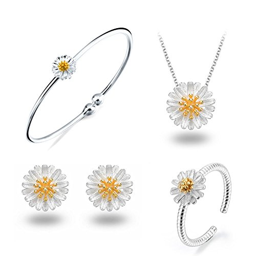 925 Sterling Silver Daisy/SAKURA/Snowflake Flower Crystal Pendant Necklace Earring Bracelets Ring Set for Women (Fresh Love As Daisy Set) Bangle Yellow Jewelry Set