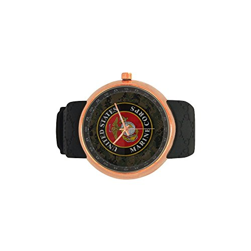 Novelty Gift USMC United States Marine Corps Men's Rose Gold Plated Resin Strap Watch by USMC Watch (Image #3)