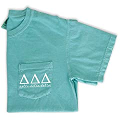 Every Tri Delta needs this cute and comfy pocket tee! Shirts are mint green with a white pocket design. These adorable t-shirts are perfect for big little reveal and matching with your sorority fam!
