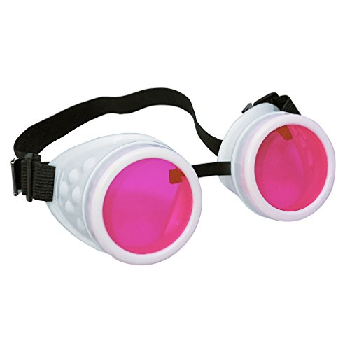 UV Glow in The Dark Steampunk Rave Goggles Meme Glasses- Willy Wonka Costume Neon Pink -