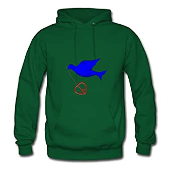 Dorastanl Women Blue Dove Peace Delivery Print O-neck Funny Green Sweatshirts In X-large