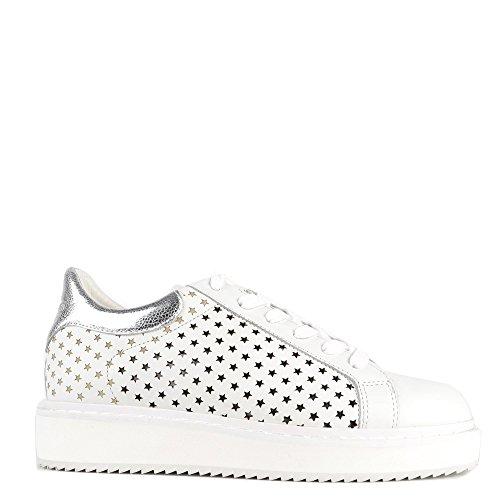Elia B Chaussures Max Baskets Blanc Argent Femme Argent BLOW2O