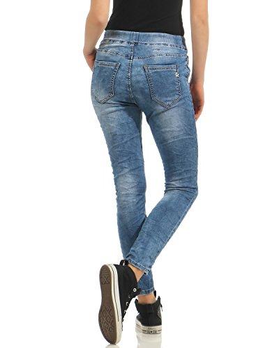 Denim Jogging Ampio Blu Hipsters Tubo Jeans Usato Boyfriend Lavato Look Lexxury Pantaloni Donna L8040 Stretch 4t5qxB0nwp