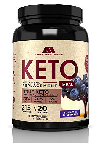 Keto Meal Replacement with Coconut Water, 20 Servings, 215 Calories, 75% F,20% p, 5% c (20 Servings) (Blueberry Cheesecake)