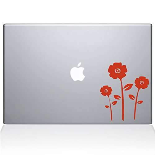 (Flowers Removable Vinyl Decal Sticker Skin for Apple Macbook Pro 15 inch (Pre-2016 model) Laptop in Persimmon)