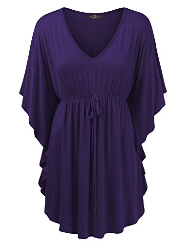 Made By Johnny WT1311 Womens Caftan Tunic Top w Drawstring Detail XXL Dark_Purple (Tunic Top Drawstring)