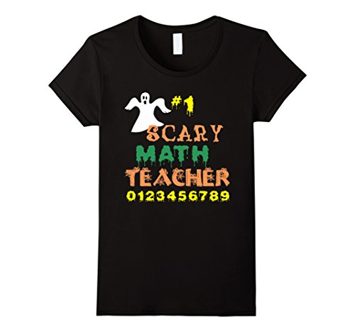 Womens Funny Halloween Ghost T-Shirt Costume for Math Teachers Large Black (Nerd Costume Spirit Halloween)