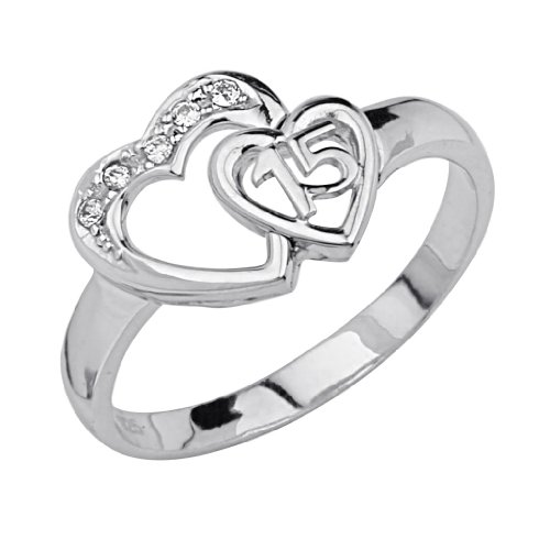 .925 Sterling Silver Rhodium Plated Sweet 15 Heart Ring - Size 6