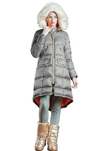 EM-EL Bogner Sport Women's Malen-D Dark Seagreen Coat with White Nurea Finnraccoon Fur Hood -