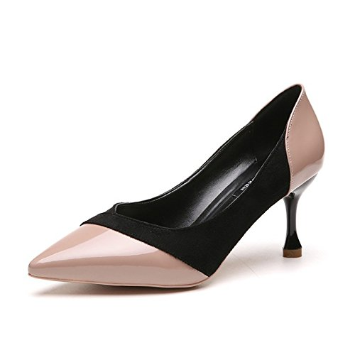 36 empalma de Color Mediano Rosado Temperamento Mezclado PU GaoHX Zapatos Zapatos Alto Tamaño Individuales de Zapatos Tacón con Vino Color Que con de wnxpB7qF