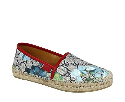 Gucci Women's GG Supreme Canvas Blue Bloom Espadrilles Flats 546151 8473 (37.5 EU / 7.5 US)