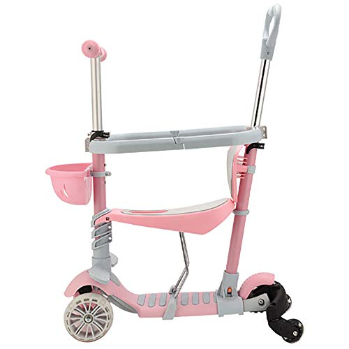HUIHUAN Scooter for Kids 3 Wheel Kick Scooter for Toddler Girls Boys, Lean To Steer, Adjustable Height, Light Up Wheels for Children Age 3-14,Pink ()