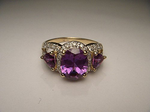 14 Tri Stone - Gorgeous Estate 14K Gold Diamond Mystic Topaz Tri-Stone Band Ring