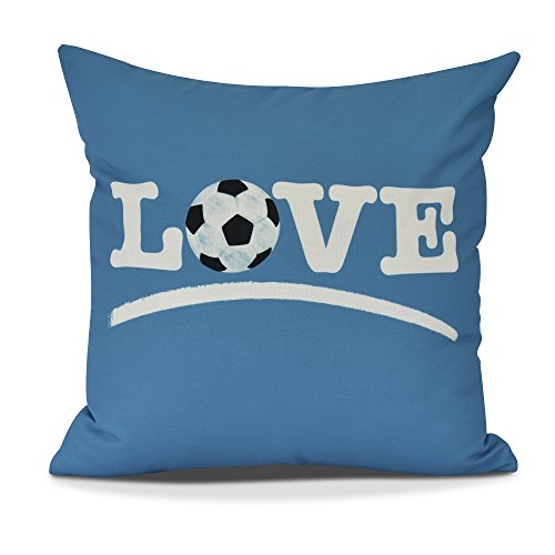 E by design PW870BL34-26 Love Soccer Decorative Word Throw Pillow, 26'', Teal by E by design