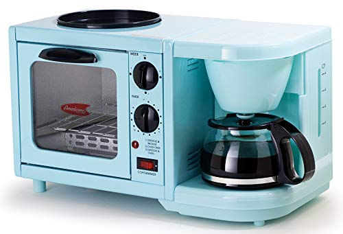 Maxi-Matic EBK-200BL Coffee Maker Toaster Oven Griddle 3-in-1 Multi-function Breakfast Center, Regular, Blue
