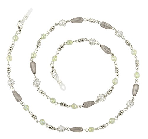 Beaded Eyeglass Chain Holder, Silver Or Gold Fashion Lanyard Necklace, Adella Gray