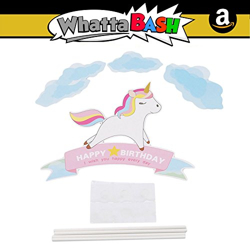 Unicorn Birthday Cake Cupcake Topper Set (Blue) Rainbow Horse Girls Unicorn Happy Birthday Party Decorations Favors Kit - Unicorn Princess Supplies Essentials Accessories Item Kid Gift Bag Photo Prop for $<!--$11.95-->