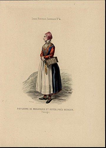 (Woman Norway fine dress ca. 1860 beautiful antique hand color ethnic costume pri )