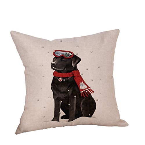 Price comparison product image Happy Christmas Pillow Cases, Napoo Dog Cotton Linen Cushion Covers Decorative Throw Pillow Cover 18X18 Inches (N)