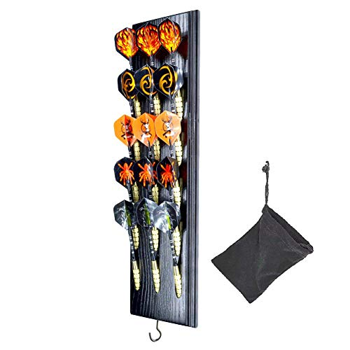 Dart Caddy, Wall Mount Wood Dart Holder/Stand, Displays 5 Sets of Steel/Soft Tip Darts, Solid Wooden Rack with Accessory Storage Bag, compatible with Sisal & Electronic Dartboard, Surrounds & Cabinets