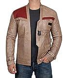 BlingSoul Genuine Leather Jacket Men | [1100654] Fin Beige, L