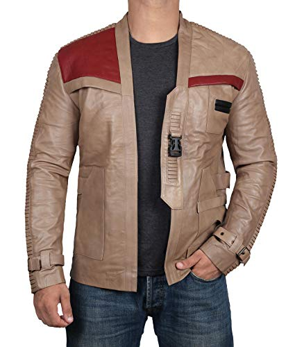 BlingSoul Genuine Leather Jacket Men (L, Antique Beige) [RL-BE-L]