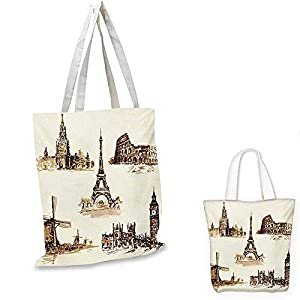 AncientEuropean Landmark Traveller Tourist Cities Italy France Spain Sketchy ImageBrown and Cream. 3