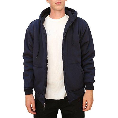 Maxxsel Mens Thermal Lined Heavy Zip Up Fleece - Mens Zip Up Lined Hoodie