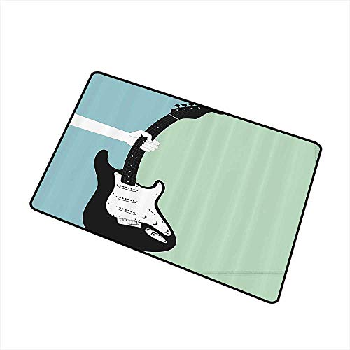 Welcome Door mat Music A Hand Grabs The Electric Guitar Instrument Rock Performance Artful Design W35 xL59 Country Home Decor Mint Green Light Blue