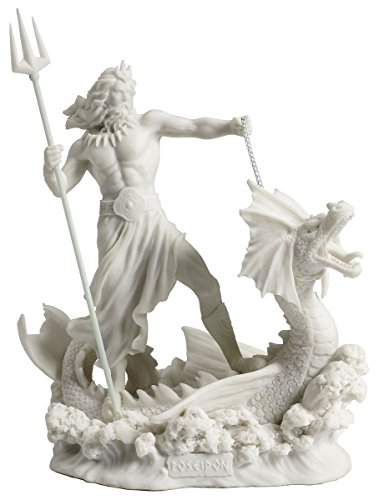 Poseidon Standing On Hippocampus with Trident Statue Sculpture White Finish