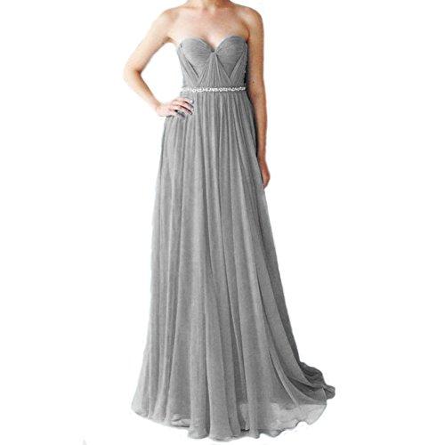 Elegant Grau LuckyShe Abendkleider Chiffon Lang Silk A linie Festkleider Damen Ballkleid ZwqBEw7