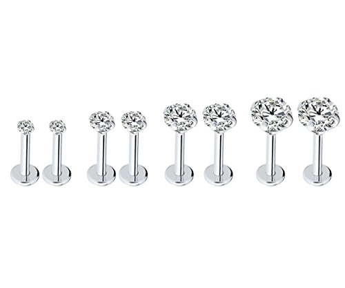 ainless Steel 2-5mm Round Cubic Zircon Lip Studs Labret Monroe Nose Tragus Helix Ear Piercing Jewelry 6mm Bar Length, 4 Pairs ()