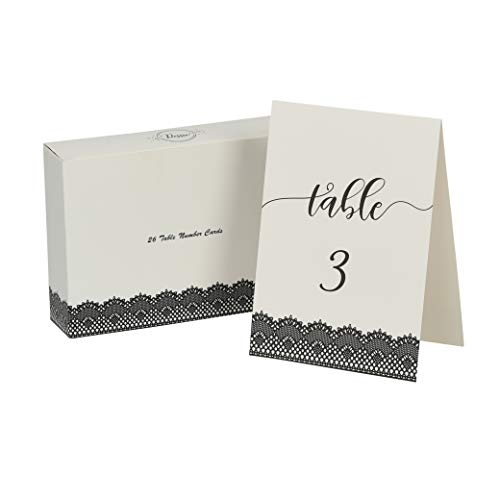 Dessie Wedding Table Numbers (Black)| 5x7 inch Double Sided with Elegant Calligraphy Design to Liven Up Any Table | Includes Numbers 1-25 and Head Table Card (Also in Silver, Rose Gold and Gold)