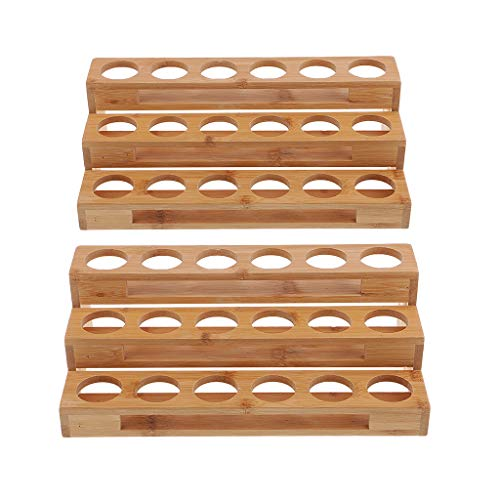 Fityle 2pcs 3 Tiers Natural Wood Rectangle Essential Oil Bottles Storage Display Rack Suit for Massage Parlours, Essential Oil Business