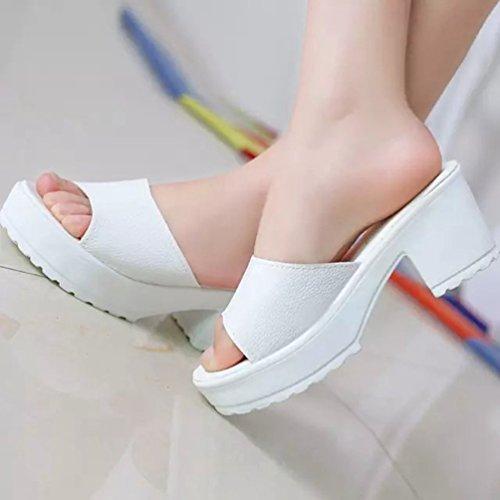 Bianco Nero Morbida Pantofole Elegant Sandali Bianco estive Medio Pelle Scarpe Tacco Plateau Donna Scarpe Kairuun 68OwqO