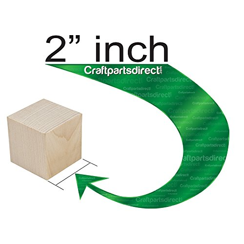 Wooden Cubes - 2 Inch - Wood Square Blocks For Photo Blocks, Crafts & DIY Projects (2'') - by Craftparts Direct - Bag of 100 by Craftparts Direct (Image #2)