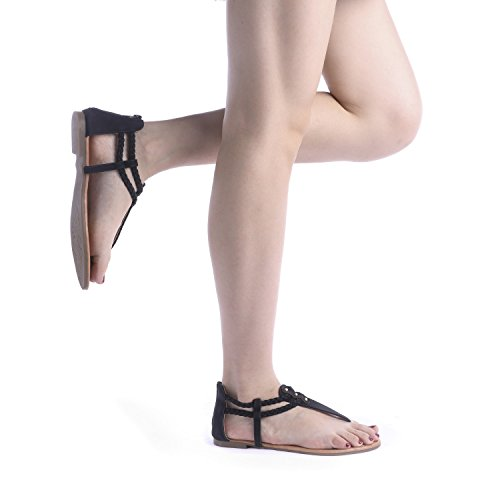 DREAM PAIRS Women's Maxi_02 Black Fashion Gladiator Design Ankle Strap Flat Sandals Size 10 M US by DREAM PAIRS (Image #5)
