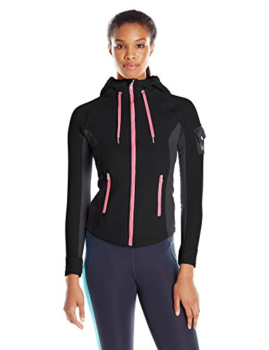 (Spyder Women's Ardent Full Zip Hoody, Medium, Black/Weld/Bryte Pink)