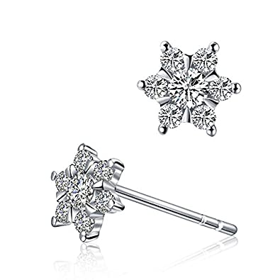 925 Sterling Silver with AAA Round Cubic-zirconia Five Star Pentagram Stud Earrings for Girls