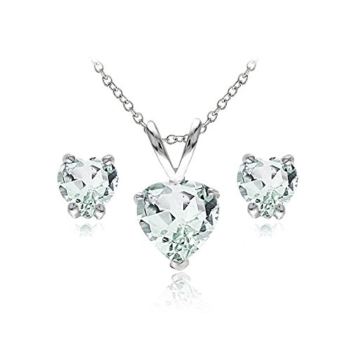- GemStar USA Sterling Silver Green Amethyst Heart Solitaire Necklace and Stud Earrings Set