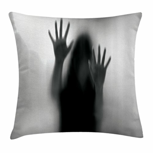 Lunarable Horror House Throw Pillow Cushion Cover, Silhouette of Woman behind the Veil Scared to Death Obscured Paranormal Photo Print, Decorative Square Accent Pillow Case, 40 X 40 Inches, Gray by Lunarable